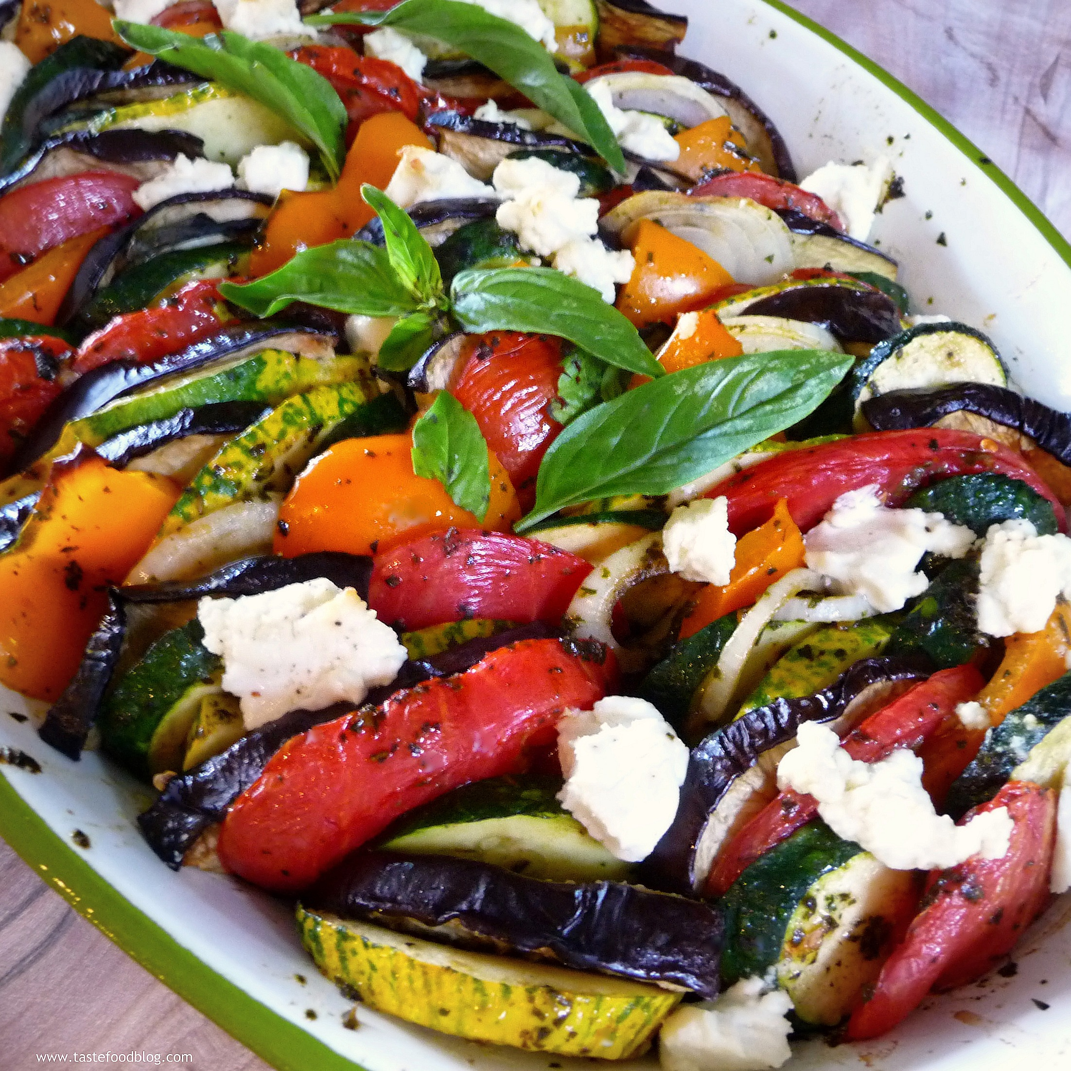 Provençal Vegetable Tian with Goat Cheese and Basil Pesto | TasteFood
