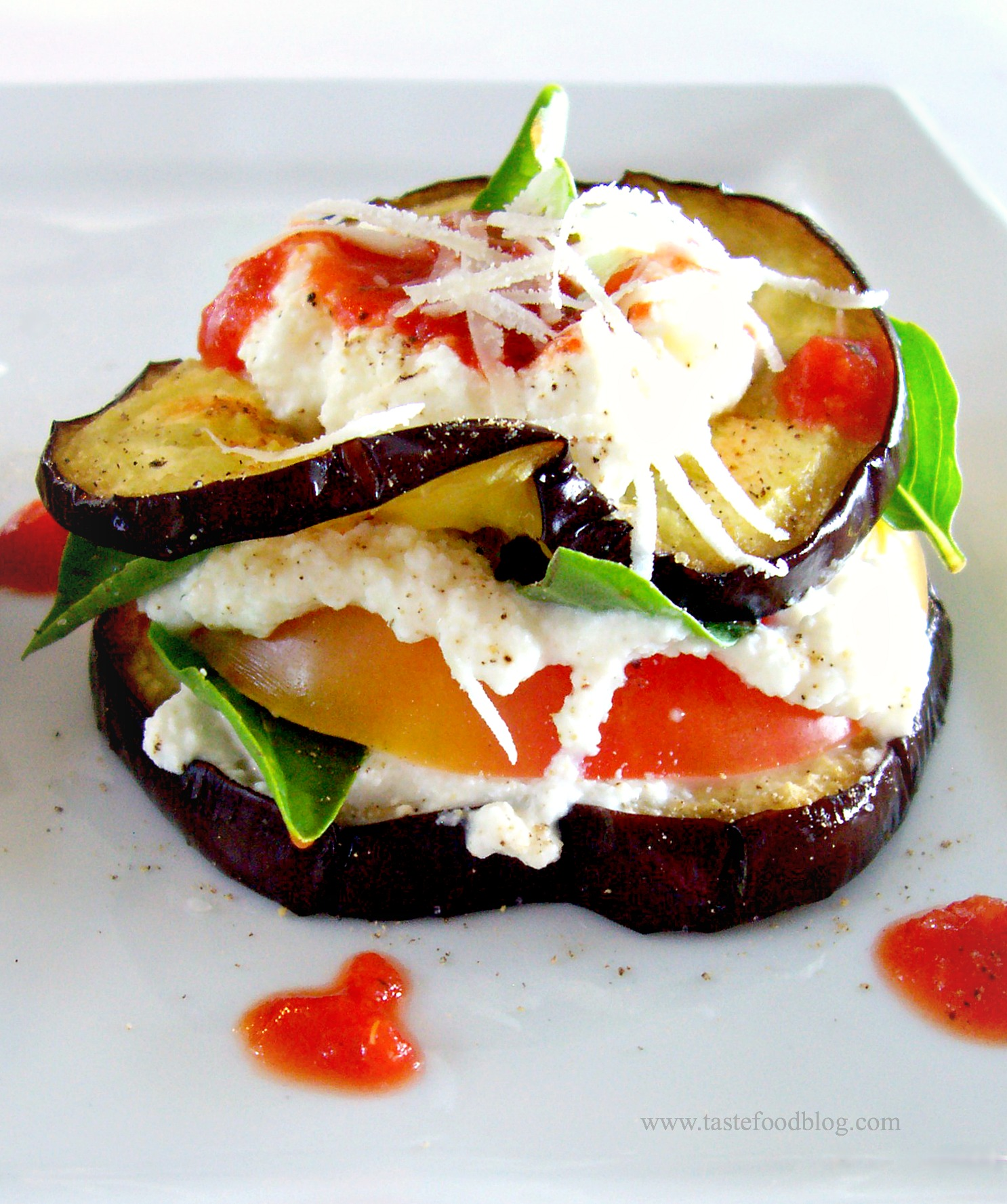 Grilled Eggplant and Heirloom Tomato Stacks with Basil and Tomato