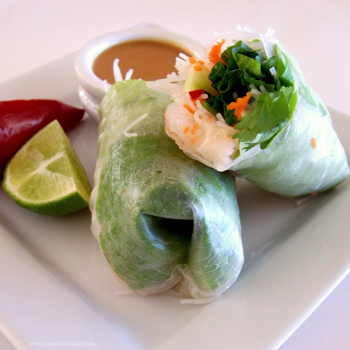 Shrimp Spring Rolls with Coriander and Mint and Chili-Peanut Sauce