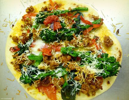 Broccolini, Sausage and Red Pepper Pizza