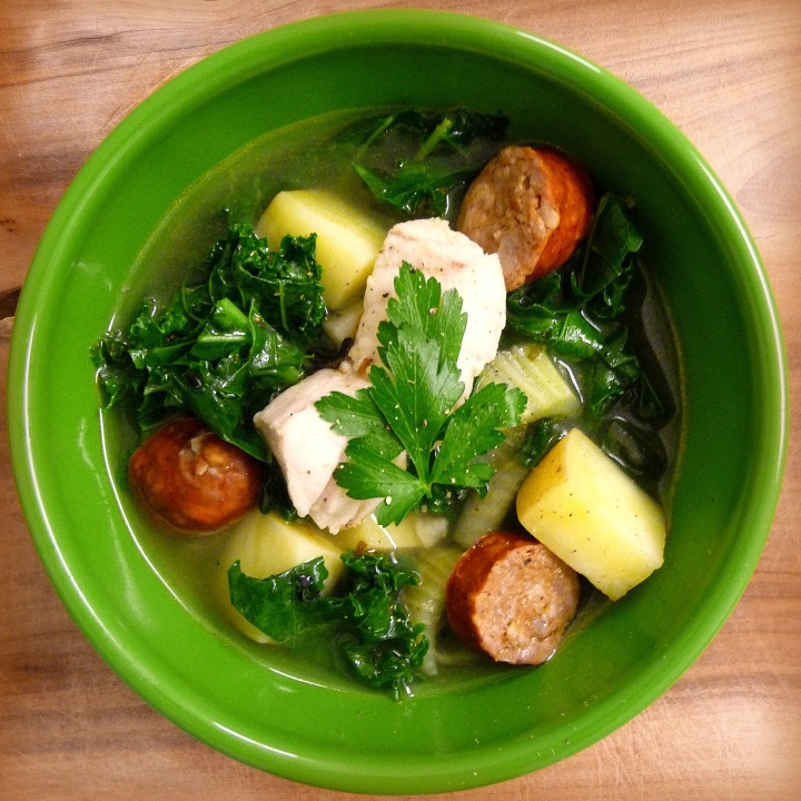 Spicy Halibut Stew with Chorizo and Kale