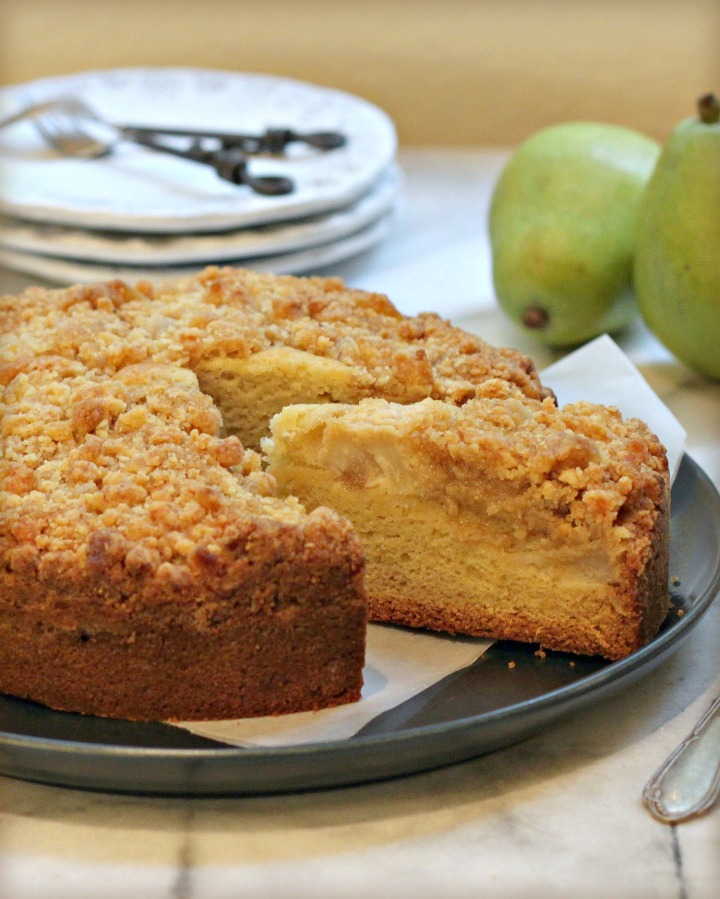 Pear Ginger Streusel Coffee Cake