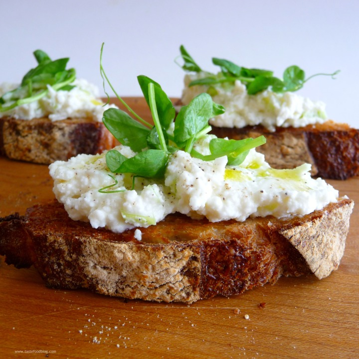 Crostini with Ramps and PeaShoots