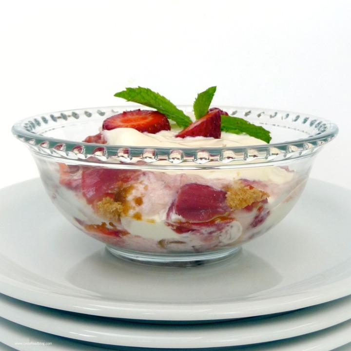 Rhubarb Trifle with Almond Macarons and VanillaCream