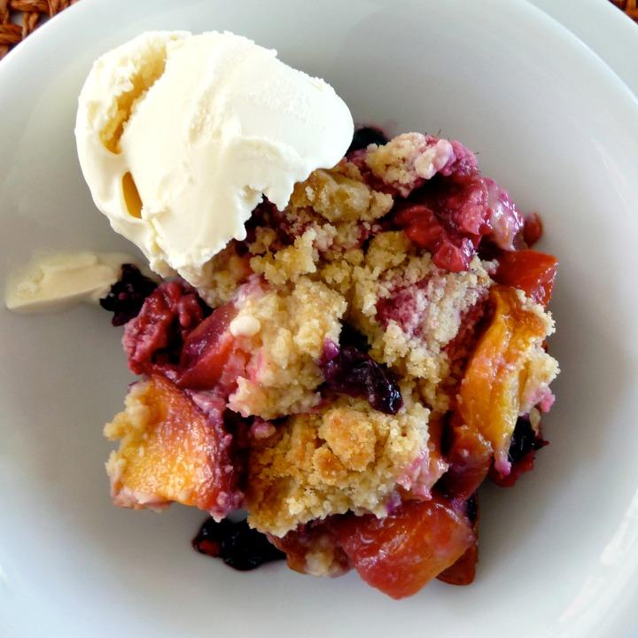 Summer Comfort Food: Nectarine, Blueberry and RaspberryCrisp