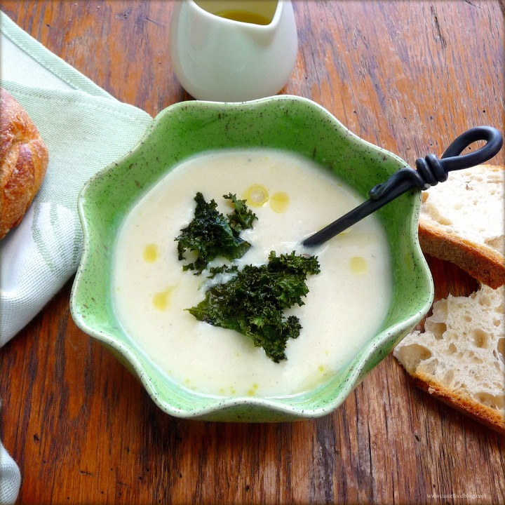 Cauliflower and Celery Root Soup with Truffle Oil and Crispy Kale
