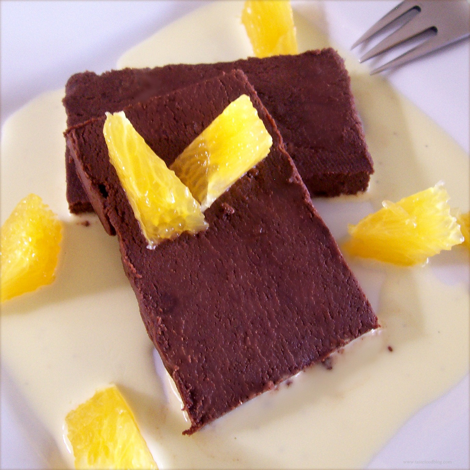 ... Dessert: Chocolate Terrine with Orange Crème Anglaise | TasteFood