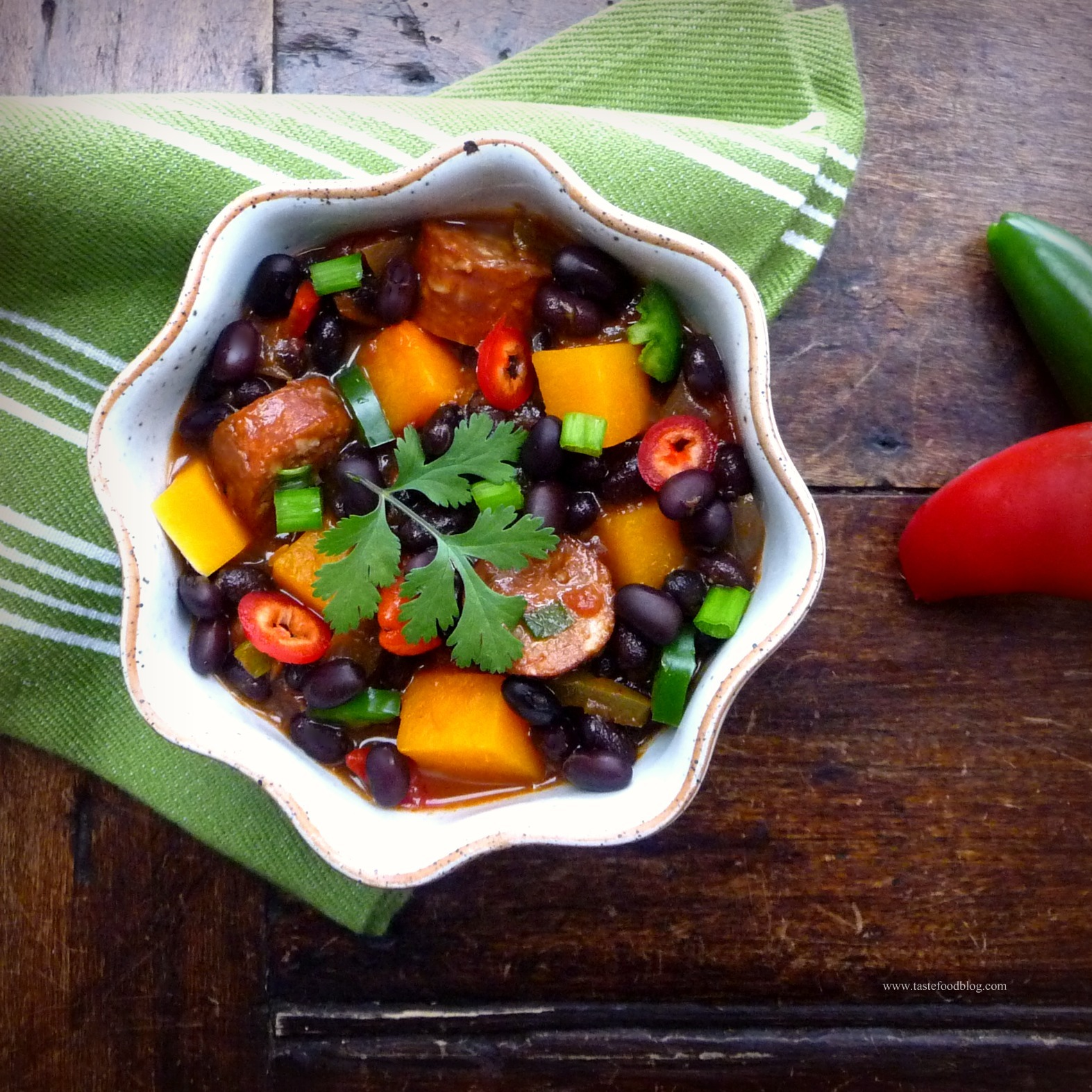 Black Bean, Sausage and Butternut Squash Chili | TasteFood