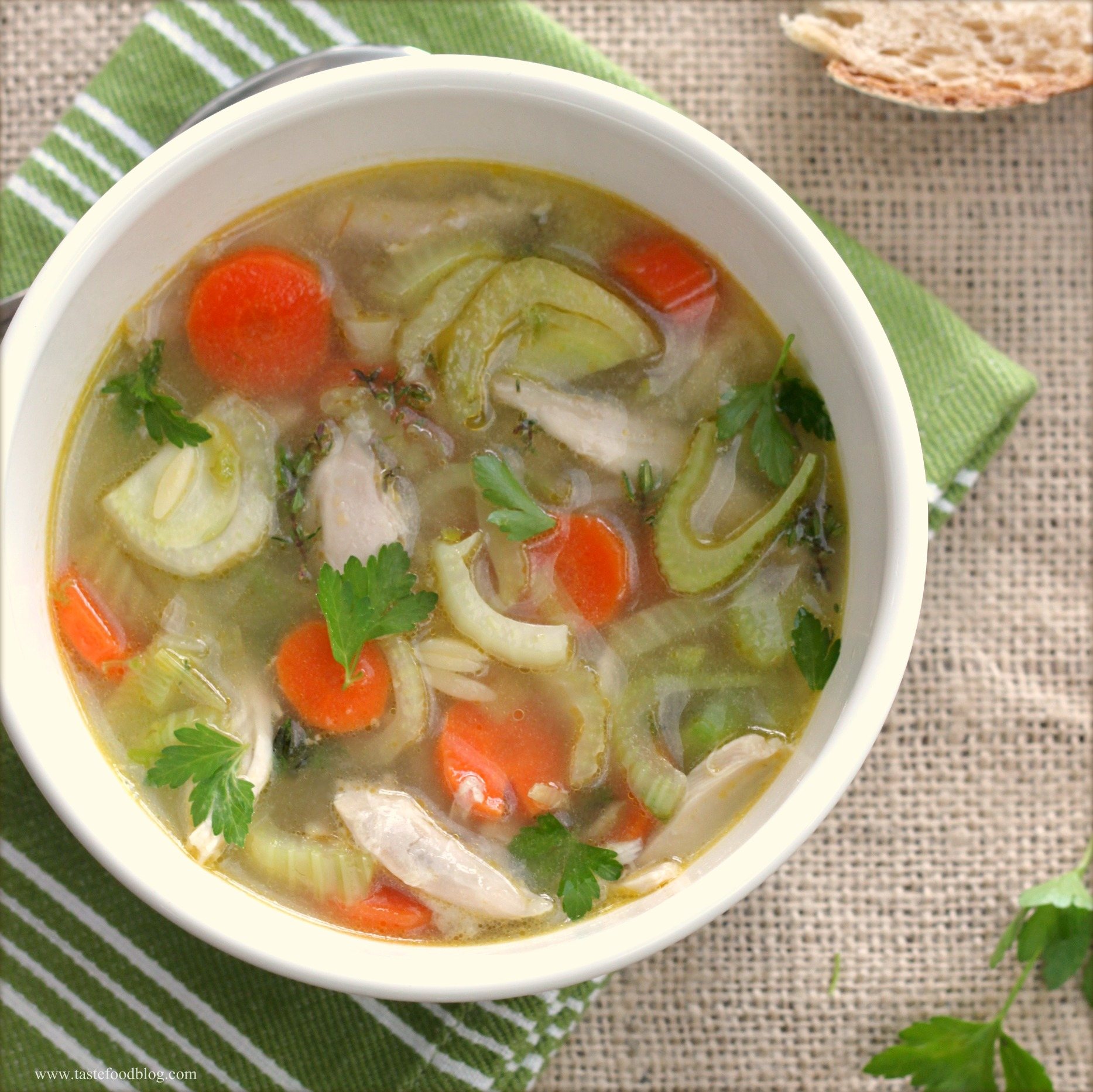 Healthy chicken soup with vegetables