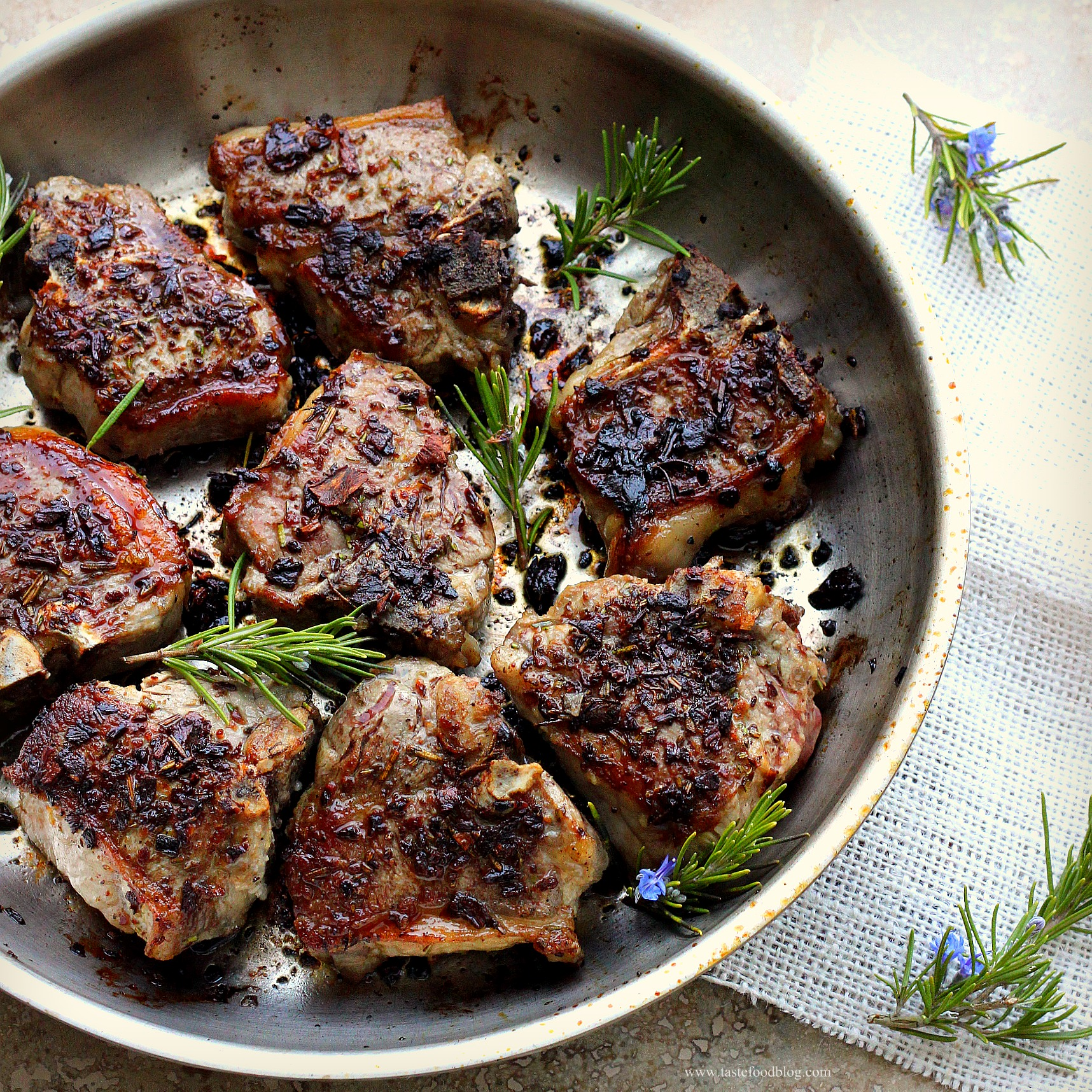 Porcini and Rosemary Crusted Lamb Loin Chops | TasteFood