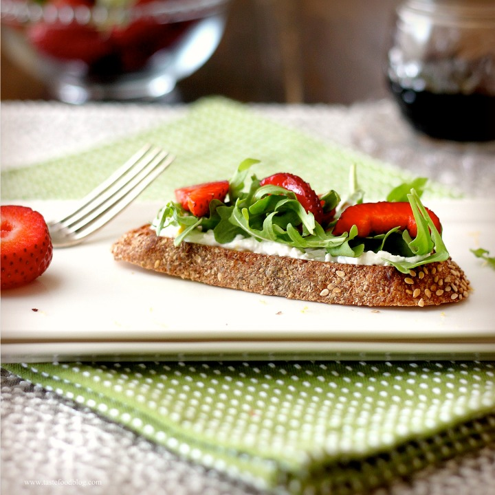 Strawberry Ricotta Bruschetta with Lemon and Arugula
