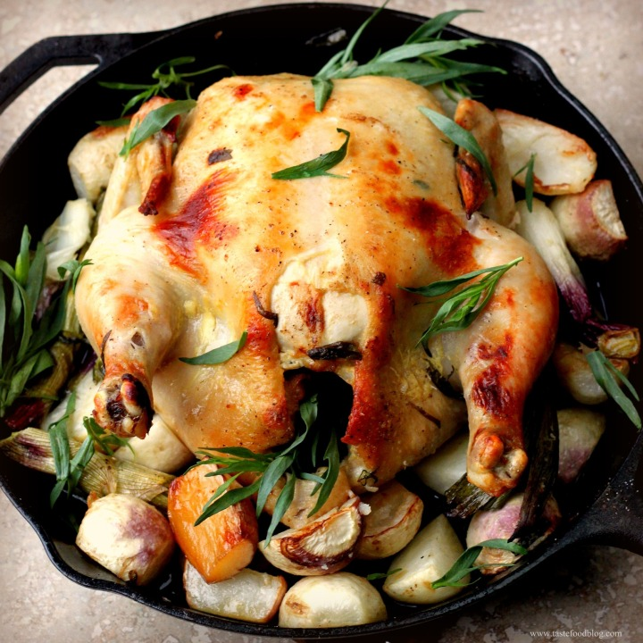 Roasted Chicken and Vegetables with Mustard and Tarragon