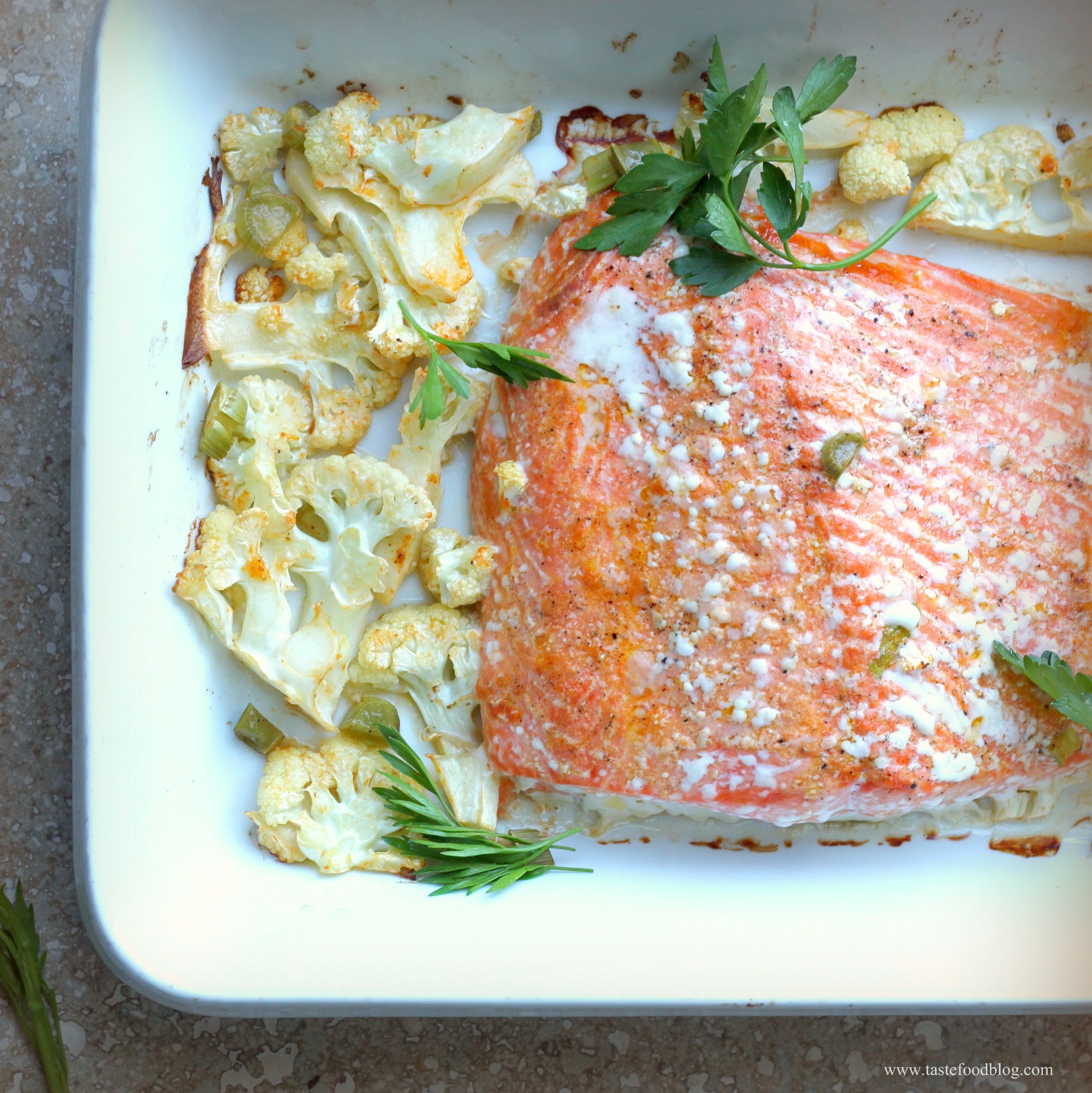 Salmon, cauliflower and sriracha come together beautifully in this ...