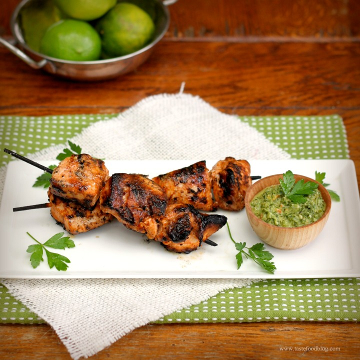 Chili-Lime Chicken Skewers with Spicy Green Pepper Sauce