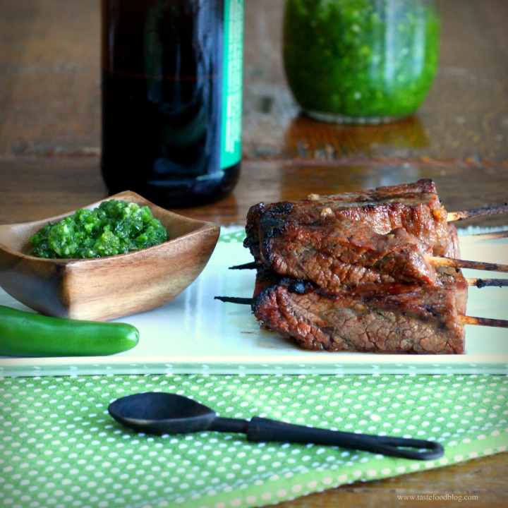 Beer and Sriracha Flank Steak Skewers with Green Chile Sauce