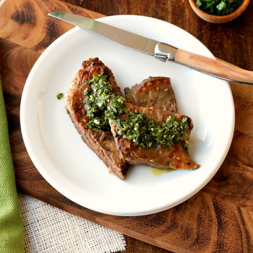 Marinated Skirt Steak, Chimichurri Sauce and a Grill ~
