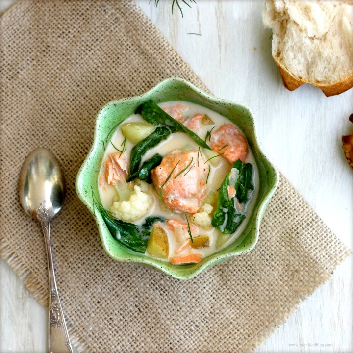 Salmon Chowder with Cauliflower and Spinach