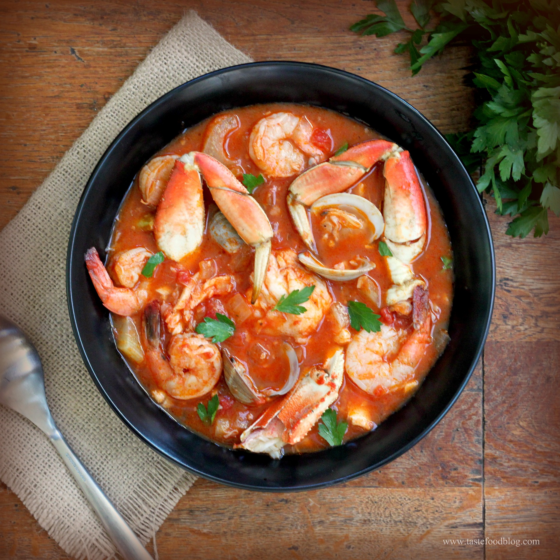 Cioppino with a twist tastefood for Fish soup recipes