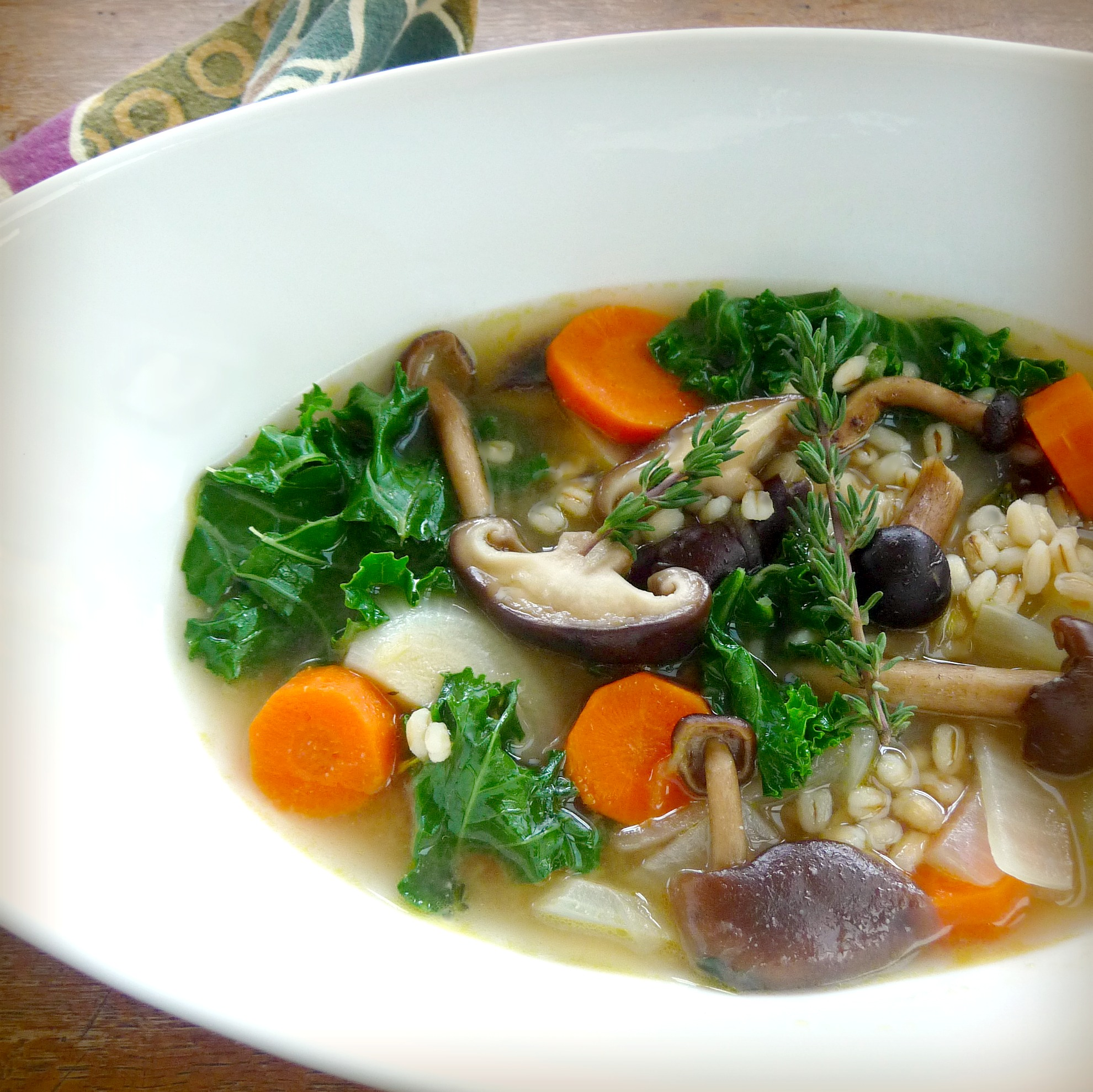 Mushroom Barley Soup with Miso and Kale | TasteFood