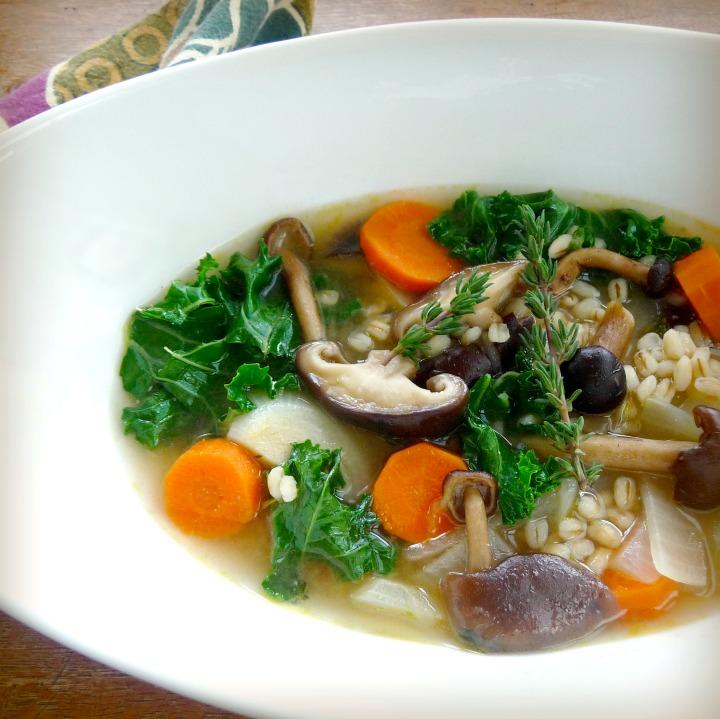 Mushroom Barley Soup with Miso andKale