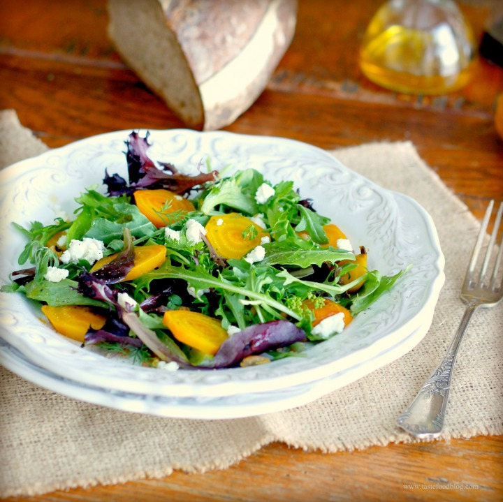 Mixed Greens with Roasted Beets, Wheat Berries and GoatCheese