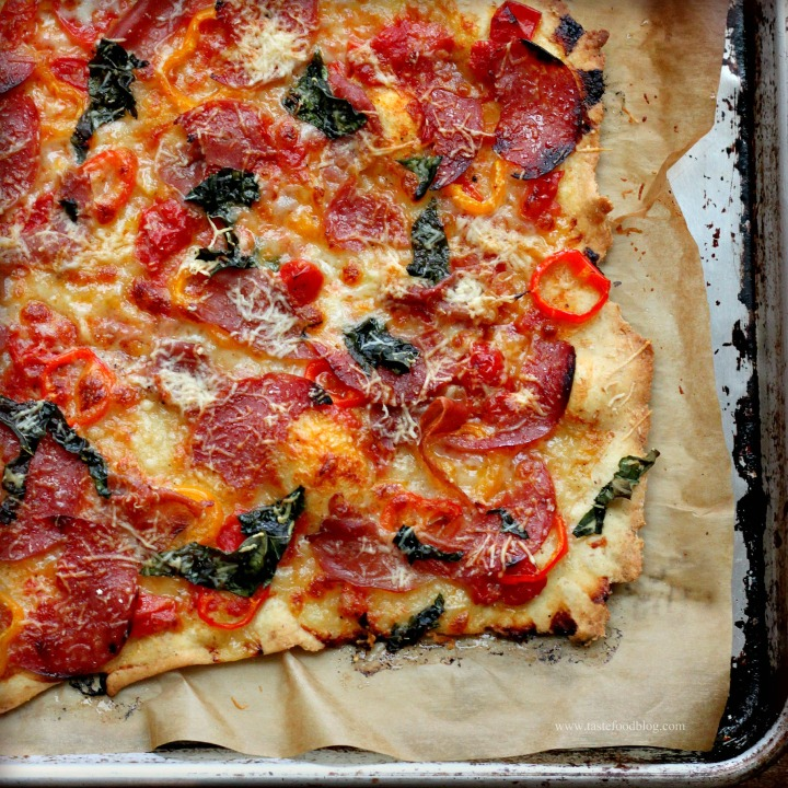Sweet Pepper, Salami and Basil Pizza