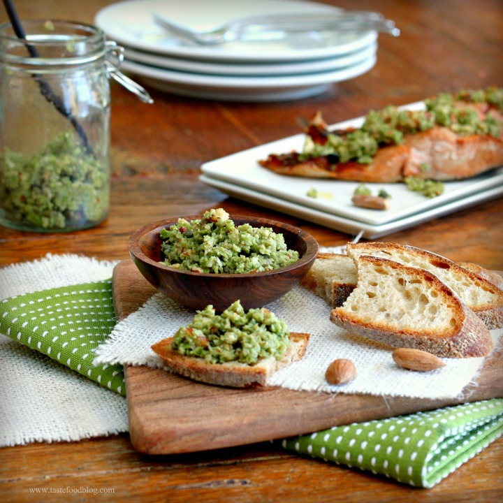 Roasted Salmon with Green Olive and Almond Tapenade