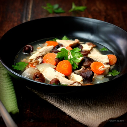 Chicken and Farro Soup with Shiitake Mushrooms | TasteFood