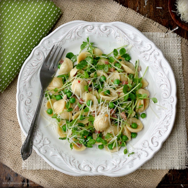 Spring Pasta: Orecchiette with Spring Peas, Pancetta and PeaShoots