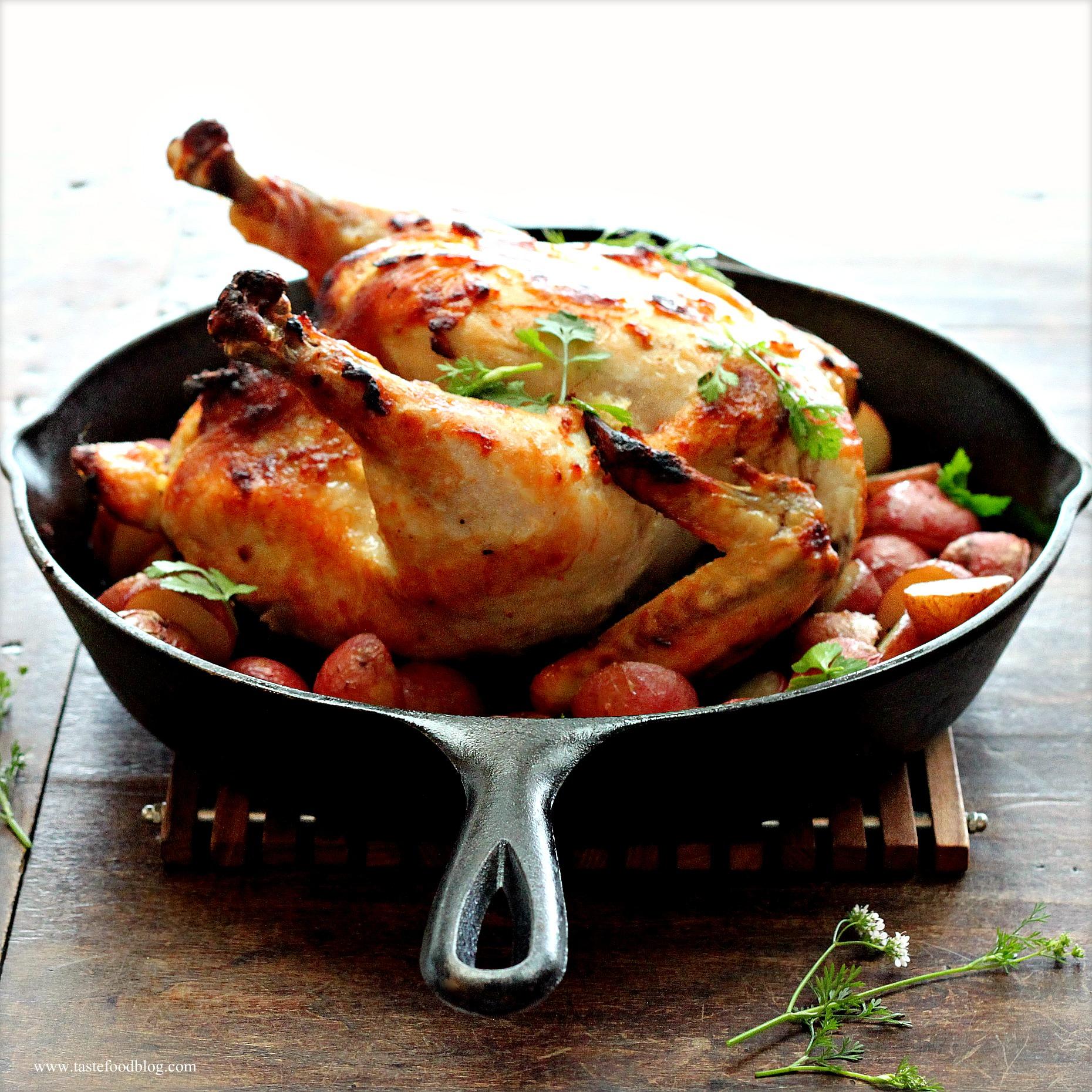 Roasted Chicken And Potatoes With Yogurt, Lemon And Garlic