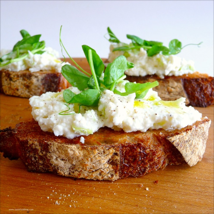 Ramped Up Crostini with Ricotta and PeaShoots