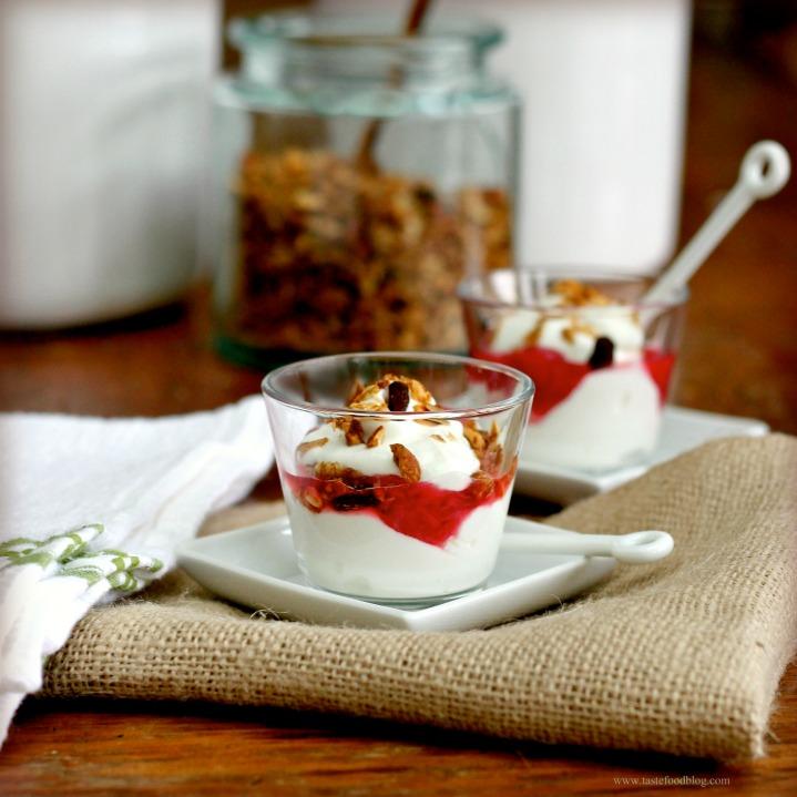 Yogurt Parfaits with Rhubarb Compote and AlmondGranola