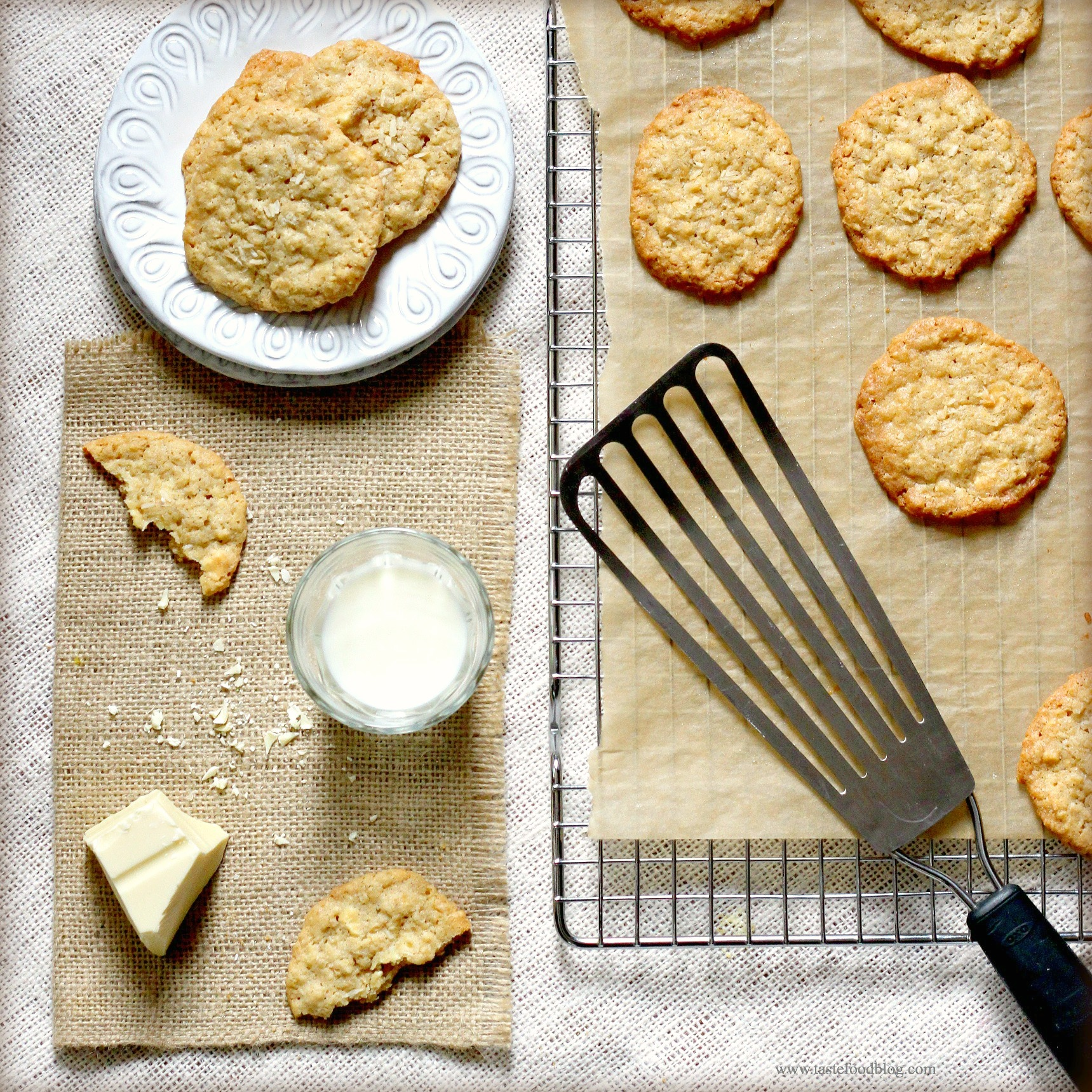 Home Baking: White Chocolate and Coconut Oatmeal Cookies | TasteFood