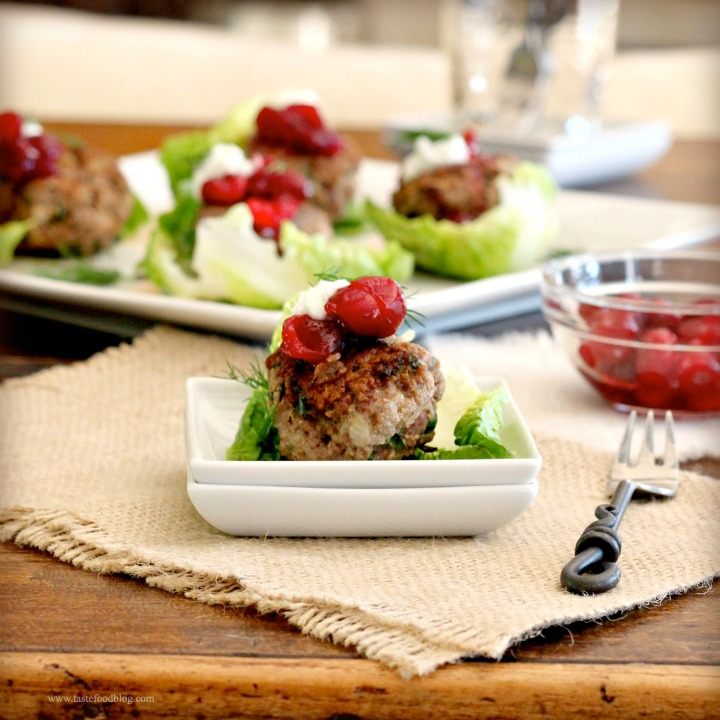 Spiced Meatballs with Cranberry Compote, Yogurt and Dill