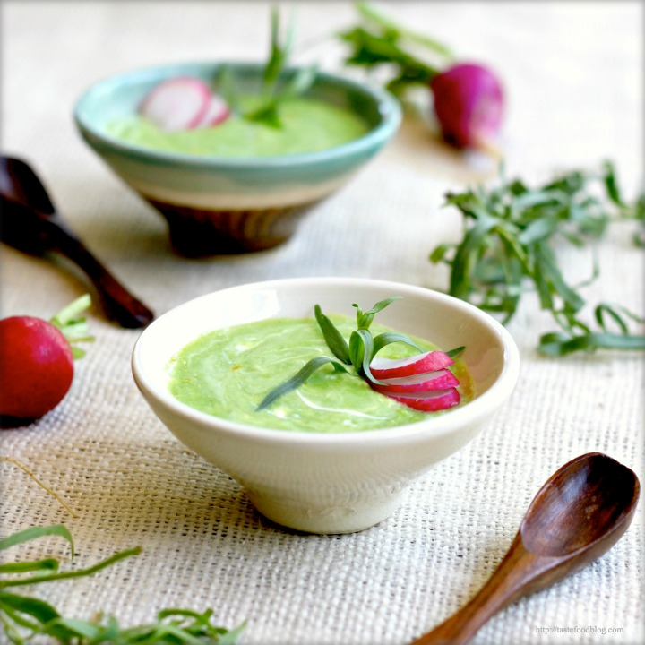 Chilled Pea Soup with Crème Fraiche, Lemon and Tarragon