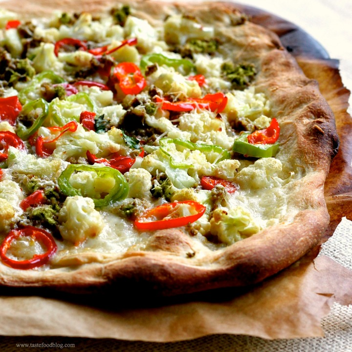 Pizza with Roasted Cauliflower, Calabrian Chilies and Green Olive Tapenade
