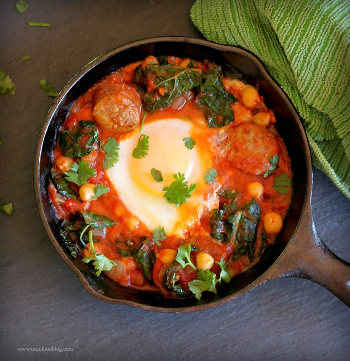 Sausage, Kale and Tomato Ragout with Poached Egg and Chick Peas