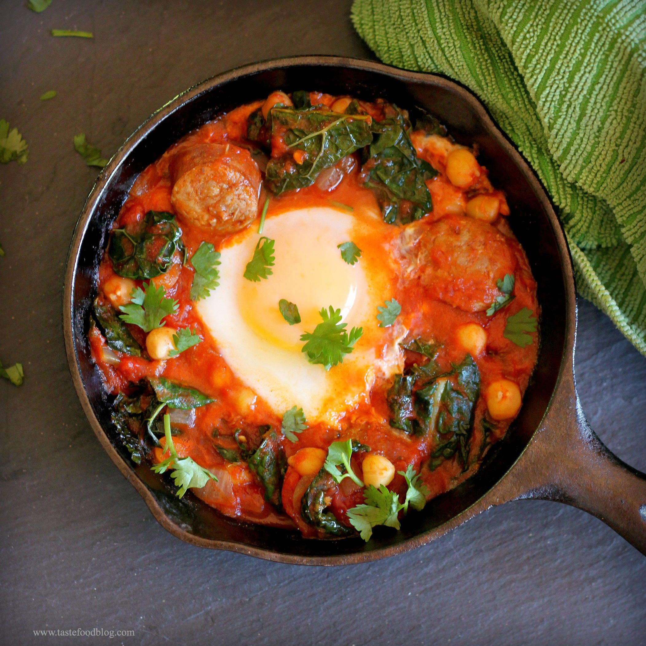 Kale With Chorizo And Poached Eggs Recipes — Dishmaps