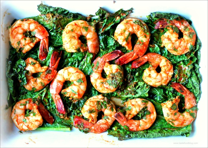 Baked Shrimp and Kale with Chermoula