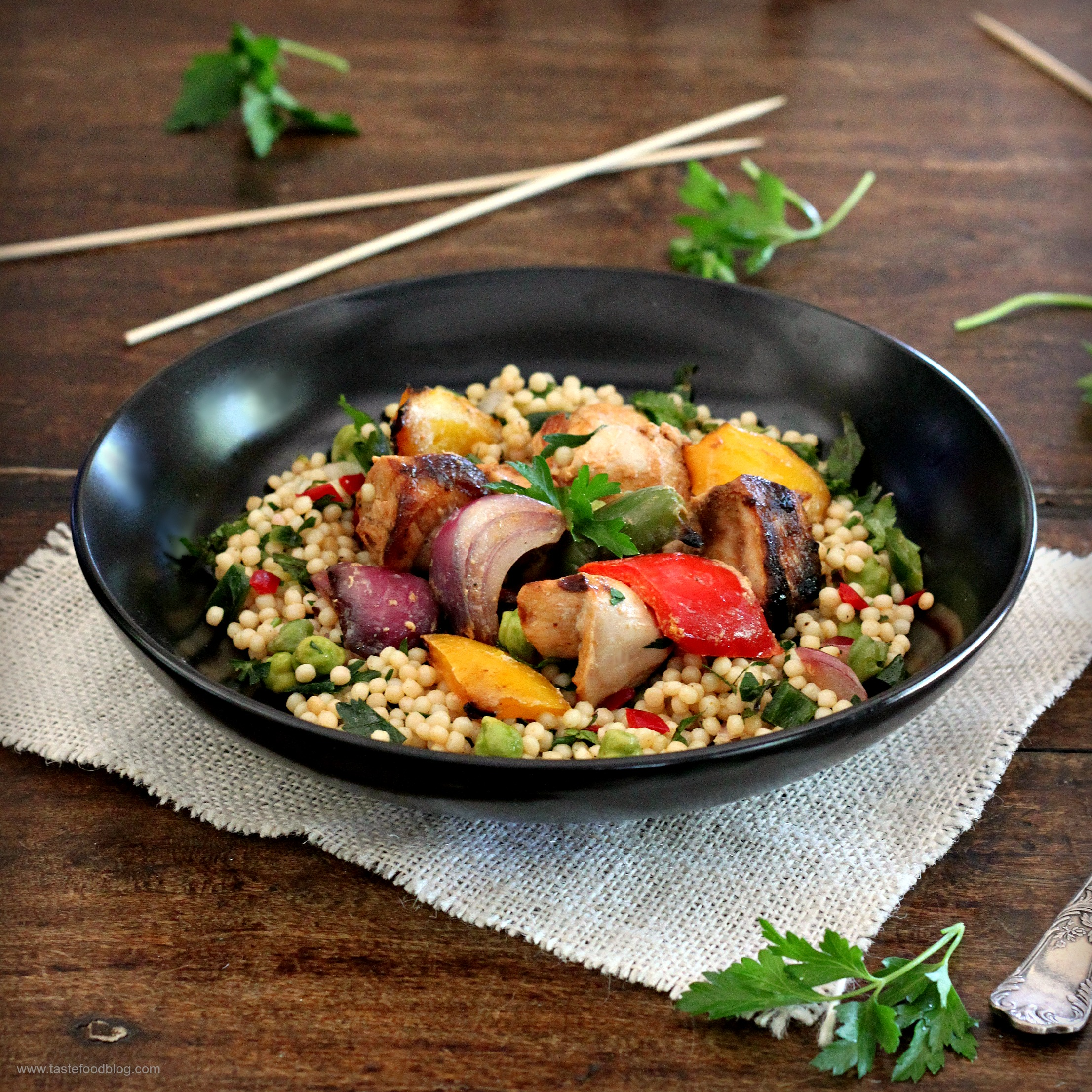 Israeli couscous tastefood grilled chicken and vegetable salad with pearl couscous salad forumfinder Gallery