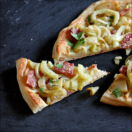 Skillet Pizza with Caramelized Fennel, Onions and Salame ...
