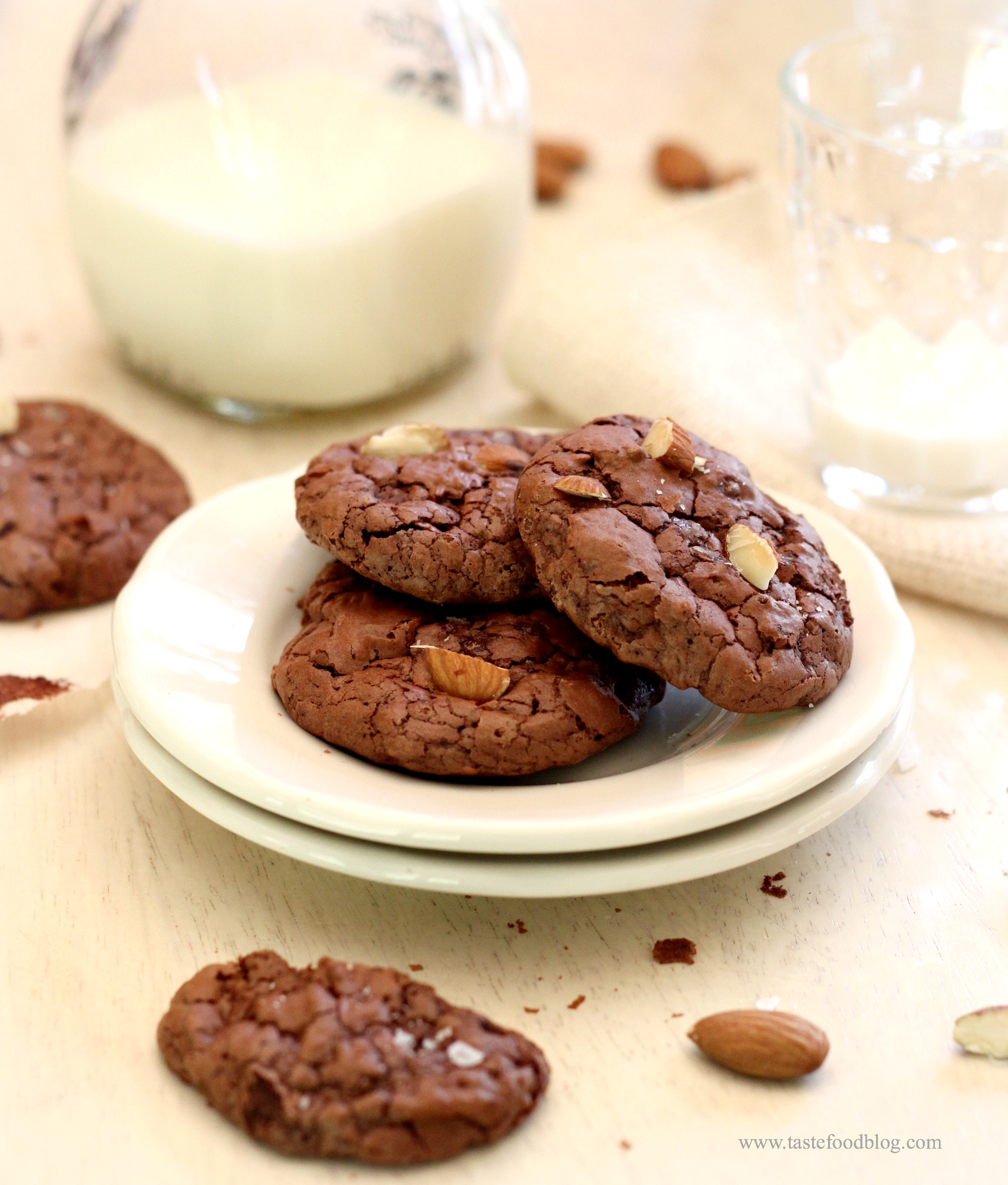 Dark Chocolate Crinkle Cookies with Almonds and Sea Salt