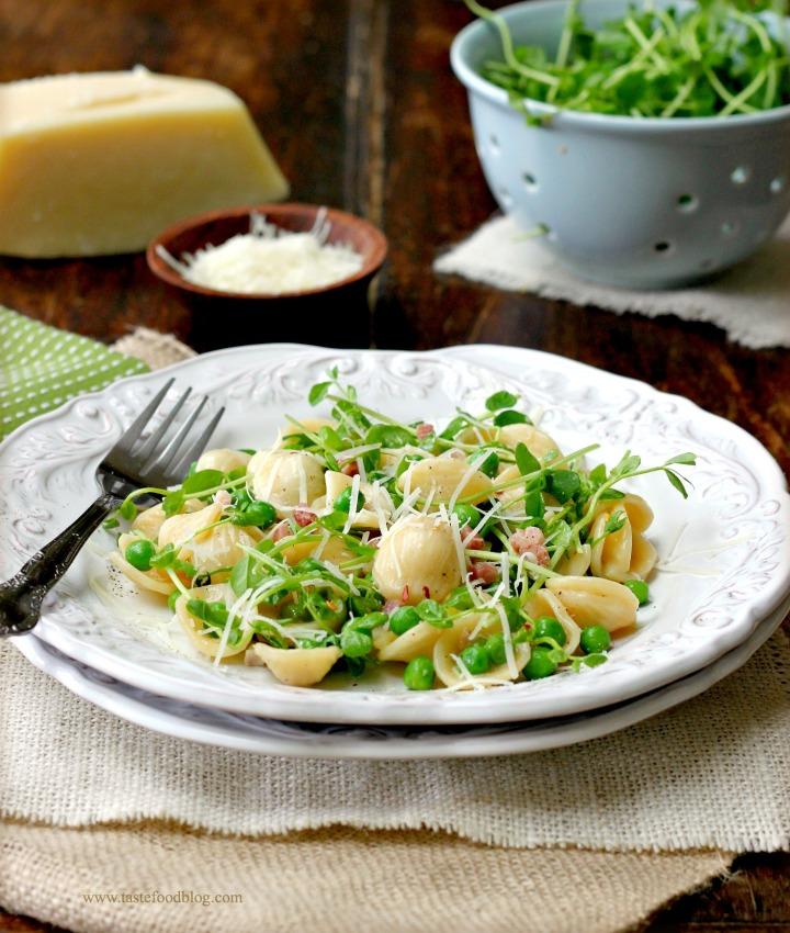 pea shoots pasta tastefood