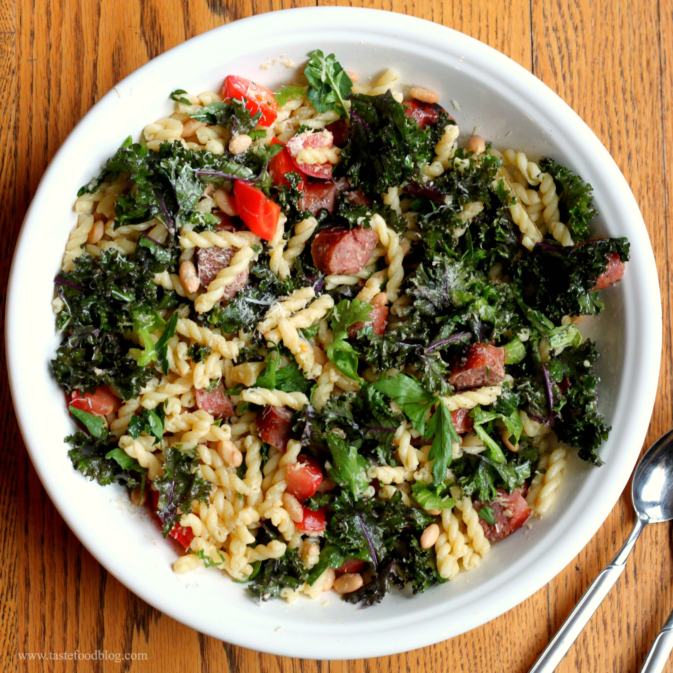 Sausage, Kale and White Bean Pasta | TasteFood