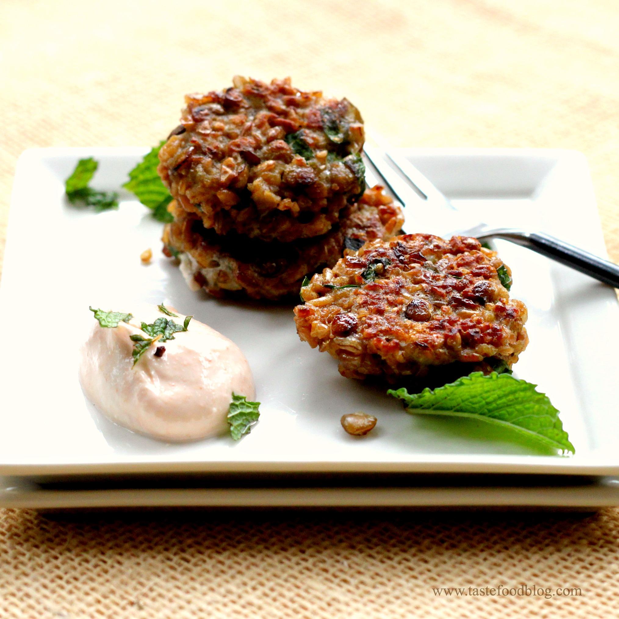 Lentil Falafel with Spicy Yogurt Tahini Sauce and Mint~