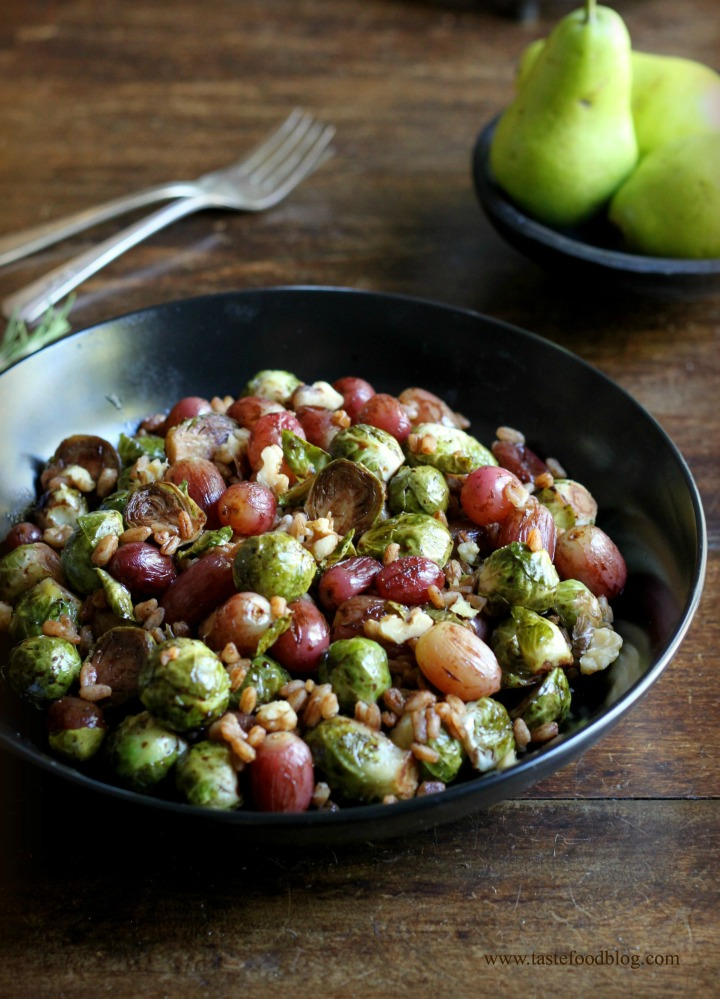 Pomegranate Roasted Brussels Sprouts with Red Grapes & Farro, see more at http://homemaderecipes.com/healthy/18-brussel-sprout-recipes/