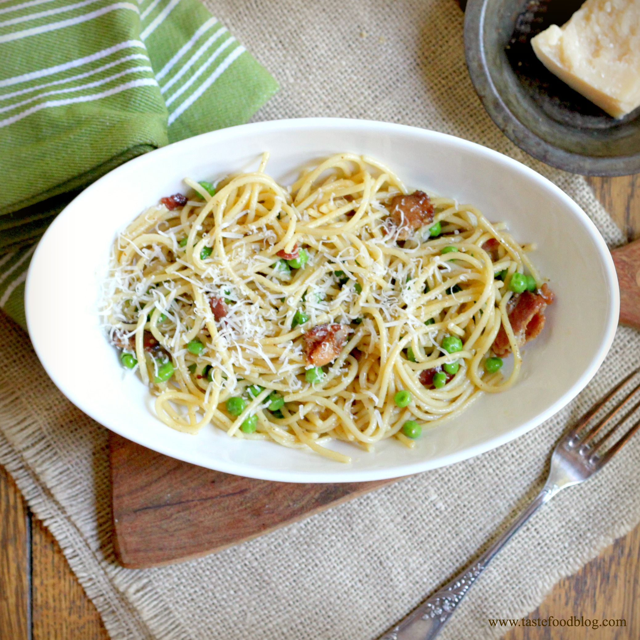 Spaghetti Carbonara with Sweet Peas ~
