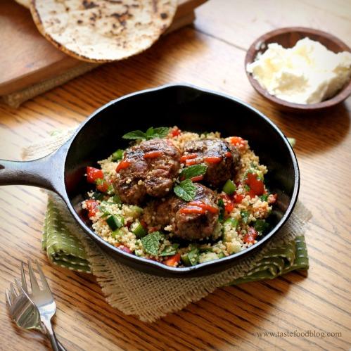 Lamb Merguez Patties with Couscous Salad | TasteFood