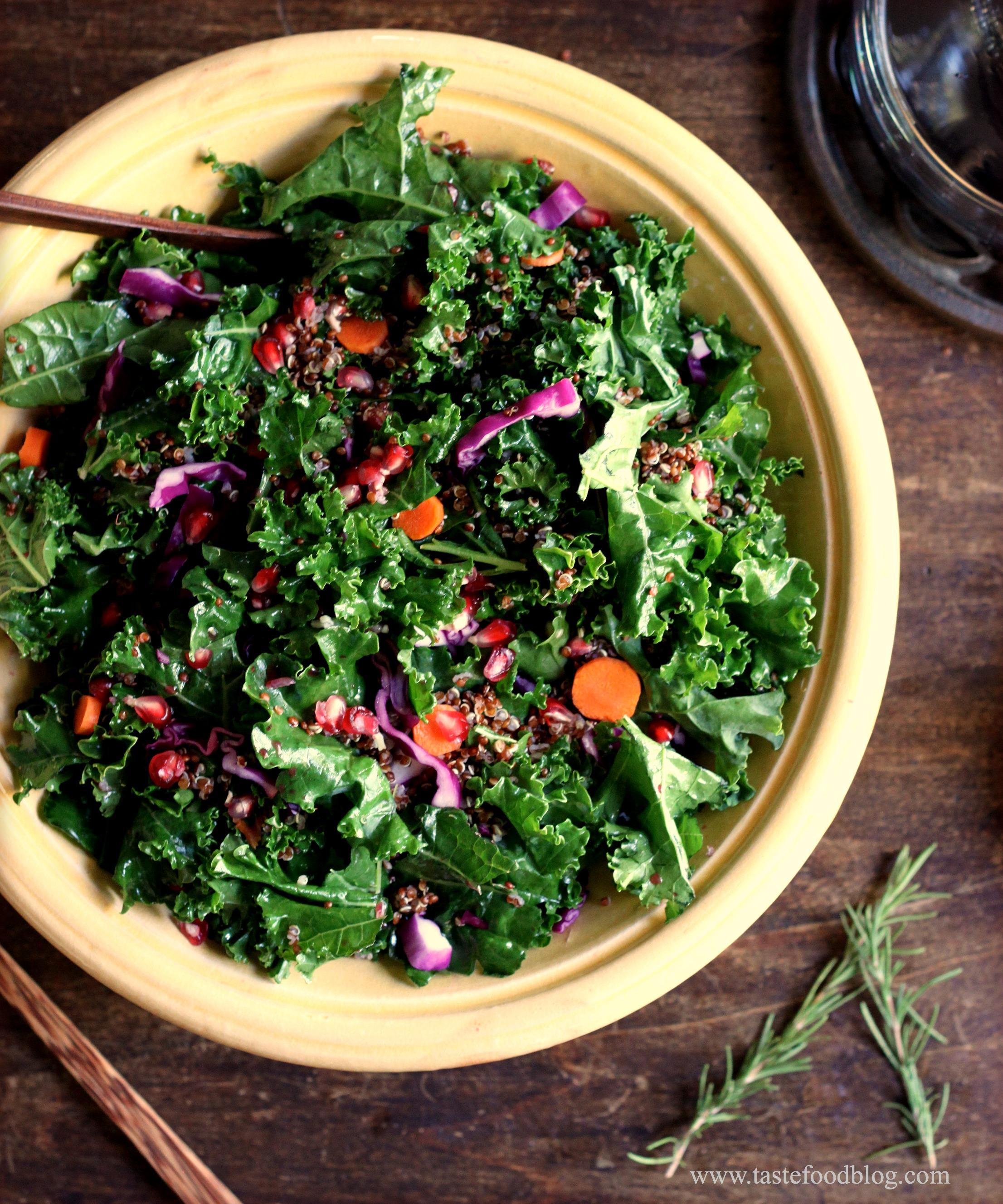 Kale, Red Cabbage, Quinoa, Carrots, Pomegranate, Raisins, Almonds ~