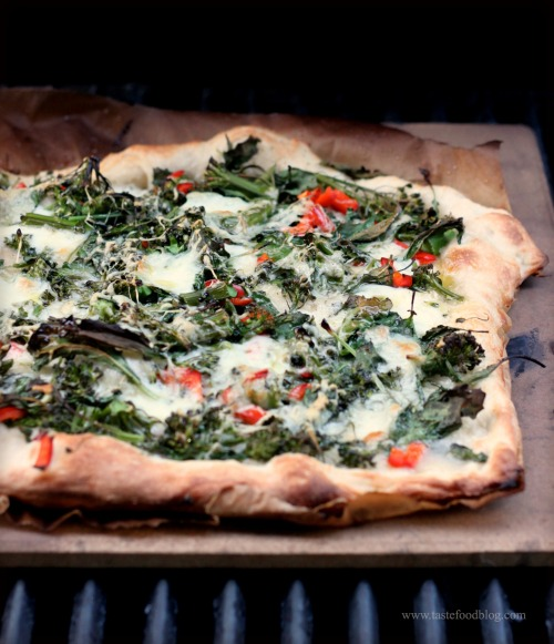 Grilled Pizza with Baby Kale, Broccolini and Chilies | TasteFood